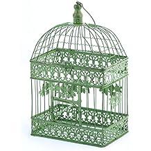 Deko jaula verde rectangular pájaro jaula metal Vintage jaula decorativa (44cm plegable