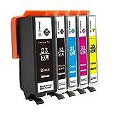 GPC Image 33xl Kompatibel Druckerpatronen Ersatz für Epson 33XL 33(1 Schwarz, 1 PGI-Schwarz, 1 Cyan, 1 Magenta, 1 Gelb) für Epson Expression Premium XP-640 XP-900 XP-630 XP-830 XP-645 XP-540 Drucker