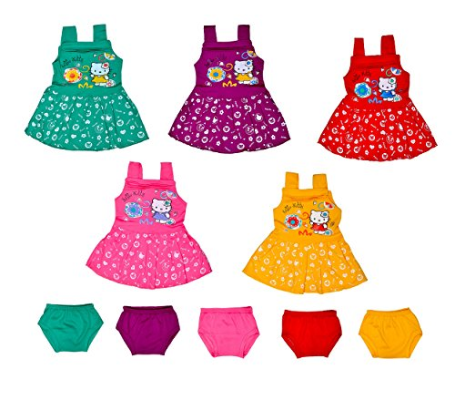 Sathiyas Baby Girls Cotton Gathered Dresses (Multicolor, Set of 5, 0-6 Months,TB05)