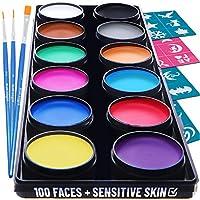 Face Paint Kit for Kids - 30 Stencils, 12 Large Washable Paints, 3 Brushes, Safe Facepainting for Sensitive Skin, Professional Quality Body & Face Facepaints Halloween Makeup Paint Supplies