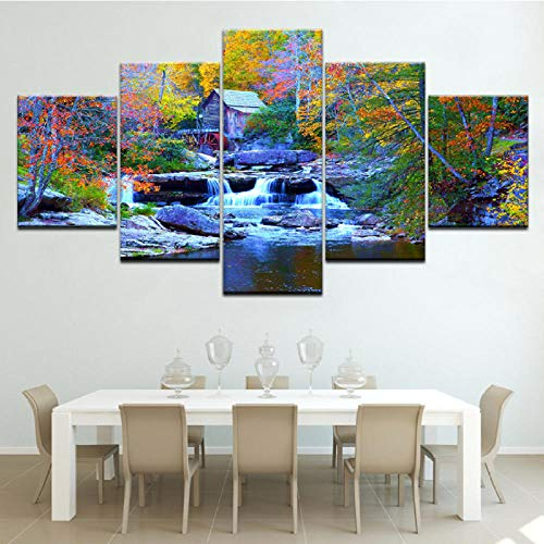 m Wasserfall 5 Stück Tapeten Moderne Modulare Poster Kunst Leinwand Malerei Für Wohnzimmer Wohnkultur-30X40/60/80Cm,With Frame ()
