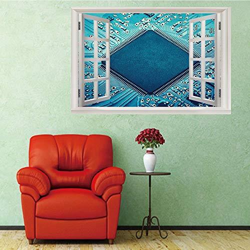 Motherboard-chip (3D Fenster Wandtattoo Wandaufkleber Gebrochenes Loch (50X70 Cm) Motherboard chip Schlafzimmer Zimmer Landschaft kinderzimmer Wanddekoration Dekoration)