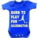 Born To Play Football pour Accrington Combinaison Body bébé manches courtes pour femme Motif Grow en bleu royal et blanc Bleu bleu marine 0-3 mois