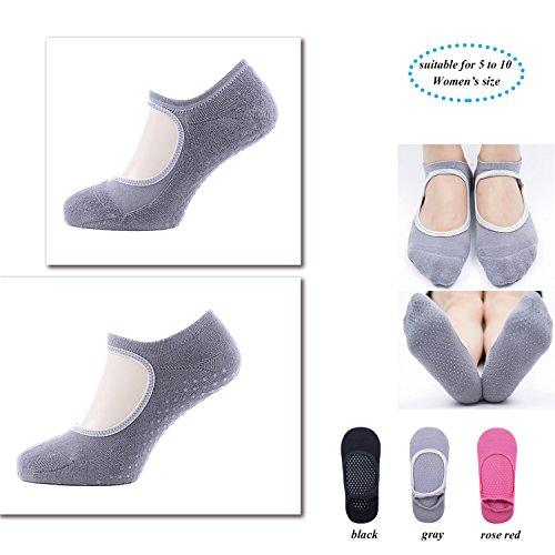 Calcetines antideslizantes de algodón, 3 pares, para pilates, barra, yoga y ballet, talla 5 a 10