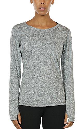 icyzone Damen Laufshirt Sport Training Langarm Shirt mit Daumenloch (Granite, L)