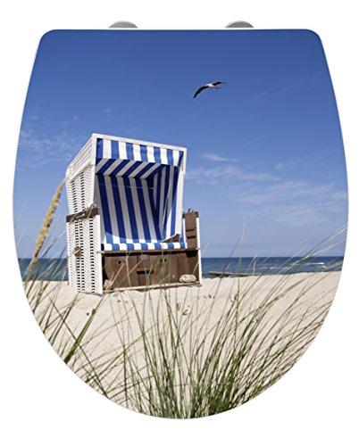 WENKO 21750100 Premium WC-Sitz Hochglanz Acryl Strandkorb Toilettensitz, Absenkautomatik, Fix-Clip Hygiene Befestigung, 38,8 x 45 cm, weiß