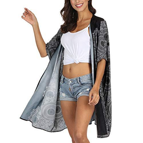 Bikini Cover Up Traje De Baño Blusa De Playa con Estampado De Mandala De Viento Nacional Y Camisa De Chal con Protector Solar,I