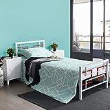 Aingoo Lit Simple en Métal, Lit avec sommier 90x190cm, Blanc + Rouge