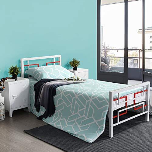 Aingoo Einzelbett aus Metall mit Lattenrost Bettgestell Massive Vierkantrohre Metallplattform mit Kopfteil und Fußteil Passend für 90 x 190 cm