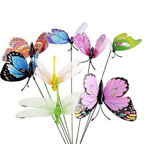 Gudotra 30packs 25pz farfalle da giardino colorato+5pz libellula con il bastone per decorazione della pianta fioriera giardino