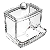 Prochive Clear Acrylic Cosmetic Q-tip Cotton Swabs Holder Dispenser Makeup Case Stick Stand Storage Box Organizer Container Display