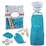 Jiali 11Pcs / Set Kinder Kochen und Backen Werkzeuge, einschließlich Schürze, Kochmütze, Handschuh und Backutensilien, Küche Pretend Spiel Spielzeug für Mädchen über 3 Jahre alt