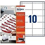 AVERY - Pochette de 200 inserts iprimables pour badges, En carte blanche 190g/m², Format 90 x 54 mm, Impression laser / jet d