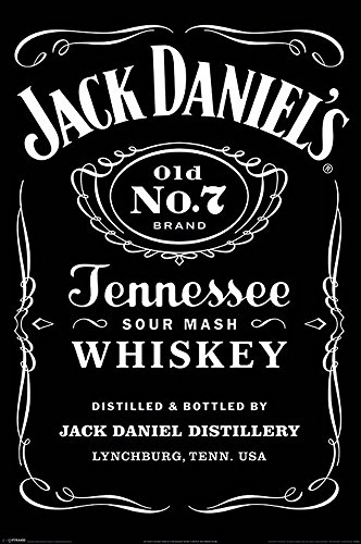 Jack Daniels - Black Label - Whiskey Bars Spirituosen Poster Plakat Druck - Grösse 61x91,5 cm + 2 St Posterleisten Kunststoff 62 cm schwarz