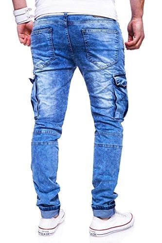 MT Styles Zipper Biker Jeans Slim Fit Hose RJ-3196-2 [Hellblau, W32/L32] - 3