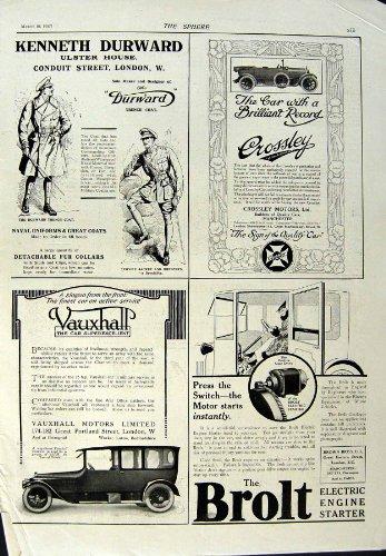 Old-print stampa antica del trench 1917 di vauxhall dei pneumatici di avon dell'alimento della pubblicità