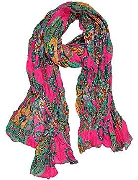 DonDon–Crinkle–Pañuelo de mujer con flores floral patrón de 180cm x 90cm modelo Selección