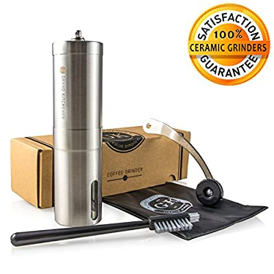 Manual Ceramic Burr Coffee Grinder with Hand Crank in Stainless Steel - High Quality Premium Coffee Bean Burr Mill! 100% Satisfaction Guaranteed! By Grand Kitchener