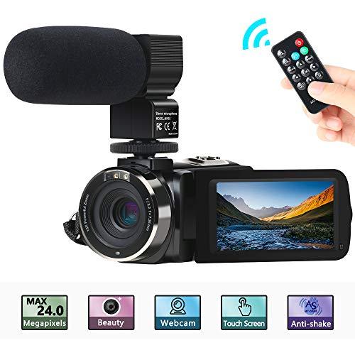 """Camcorder Videokamera, ACTITOP FHD 1080P 30FPS 24MP IR Nachtsicht YouTube Vlogging-Kamera 3\""""Touchscreen Digitalcamcorder mit Mikrofon, Fernbedienung, 2 Batterien"""