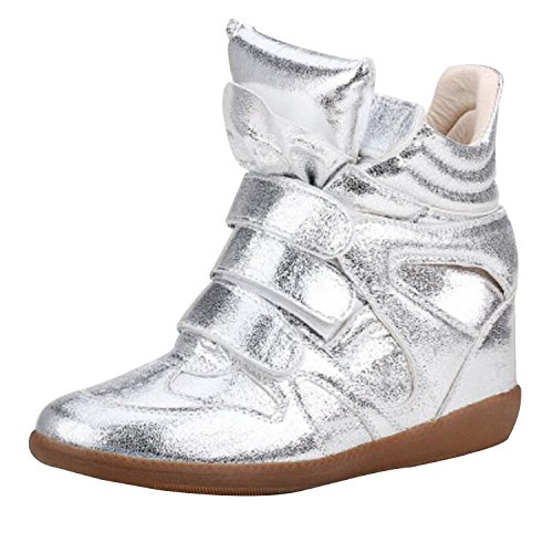 Womens Ladies Faux Leather Ankle High Top Paneled Wedge Trainers Sneakers Shoes silvery