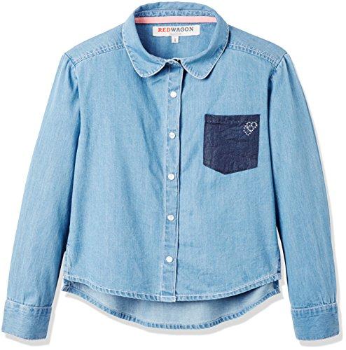 RED WAGON Mädchen Chambray-Hemd, Blau (Blue), 104 (Herstellergröße: 4 Jahre)
