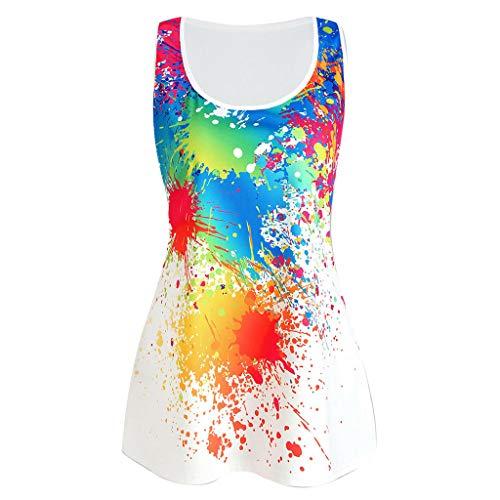 YiYLunneo Damen Lose Ärmelloses T-Shirt mit Rundhal Bedrucktes Westentop Schlanke Weste Mode Persönlichkeit Farbe Tank Tops -