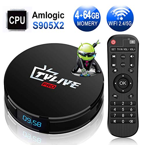 Android TV Box【4G+64G】- TV live Smart TV Box, Amlogic S905X2 Quad Core 64 Bit/ Android Box Wi-Fi Dual-band/ BT 4.1/ Box TV UHD 4K TV/ USB 3.0 Media Player, Android Set-top-Box (Android-tv-box)