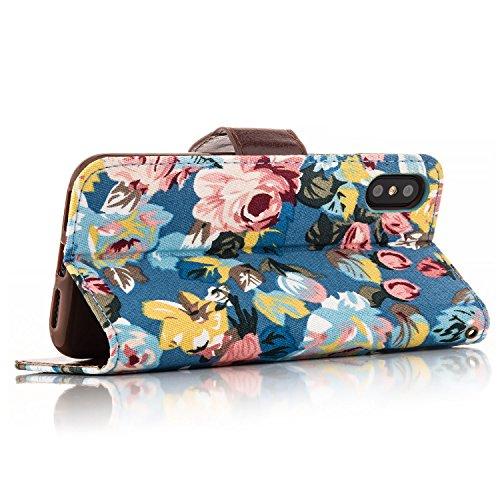 Coque Apple iPhone X Etui Housse Ultra Mince Case Flip Cover avec Poche intérieur Wallet Haute Qualité, avec Fonction Stand et les Fentes de Carte | Motif de Fleurs Bleu Bleu