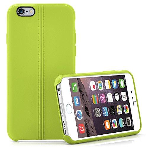 Premium Handy Tasche für iPhone 6 / 6S | Silikon Hülle in eleganter Leder Optik | Handy Schutz Case von OneFlow | Back Cover in Weiss LIME