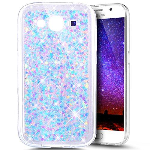 Ukayfe Custodia Cover Galaxy Grand Neo i9060, UltraSlim Custodia per Samsung Galaxy Grand Neo i9060 in Gel TPU Silicone,Morbida Soft Trasparente e Cristallo Protettiva Bling Glitter-Luce Viola