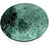 "Marble Chakla Green - 9"" Diameter - Ring Base Rolling Pin Board, Roti Maker - From Banks of Holy River Narmada"