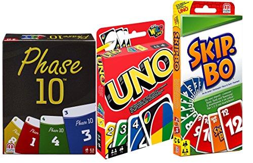 Mattel W2087-FPW38-52370 Bundle - 3-er Set Kartenspiele: UNO, Skip BO und Phase 10