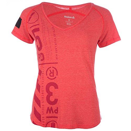 Reebok Damen V-Shirt rot S (Rot Shirt Reebok)
