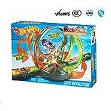 PANXIA Hotwheels Los bucles motorizados giran Competición de choque cuerpo a cuerpo Roto Revolution Track Set
