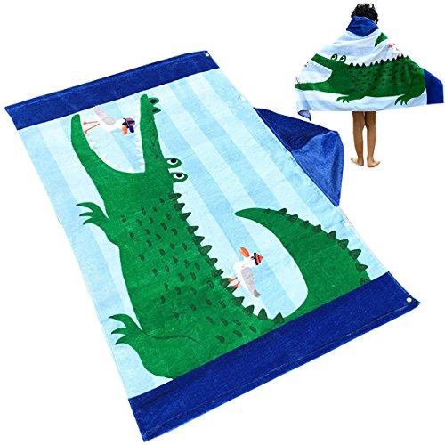 Uniuooi Kinder Kapuzen Handtuch Badetücher Strandtücher Bademantel Sporthandtücher für Jungen Mädchen Alter 1-7 Jahren 100{8866bb23f67593d89d97aa73deb058a7f9ee57ada9595769822262ea4aa6d3a5} Baumwolle Bade Badetuch Poncho Möwe Krokodil