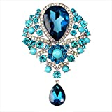 Contever® Vintage Jewellery Teardrop Brooch Pendant Pin Crystal Rhinestone Large Flower Brooch -- Peacock Blue