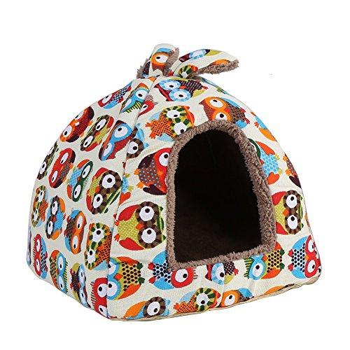 Delaman® Premium Hundebett süße Katzenhöhle Plüsch mit Eulen-Cartoon-Muster für Haustier Hund Katze Kaninchen Soft Bett Haus Indoor zum schlafen, Waschbar (Size : S)