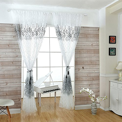 YOSEMITE Totems Muster durch Rod Sheer Vorhang Home Schlafzimmer Decor, Voile, schwarz, Einheitsgröße -