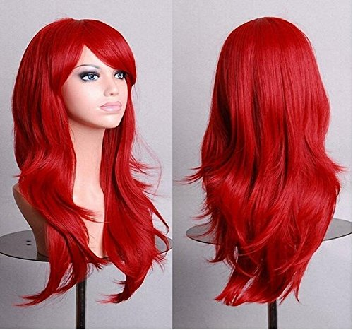 70cm Loose Wave sintetico parrucche per le donne nero Cosplay parrucca bionda blu rosso rosa grigio viola per capelli umani party