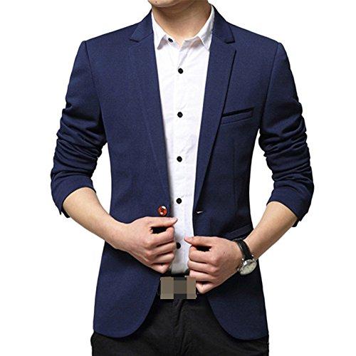 LEOCLOTHO Blazer Casual para Hombre Slim fit Chaquetas de Traje de Un Solo Pecho para Negocios Boda Ocio Azul Marino M
