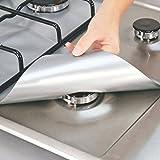 LinTimes Wiederverwendbare Aluminiumfolie Brennerabdeckung antihaftbeschichtet Gasherd Brenner Abdeckung Schutzmatte, 4 Stück