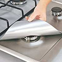 Zantec 4PCS reutilizable antiadherente de aluminio lámina de encimera a gas Protección cubierta de la cubierta del protector del quemador de la estera limpia