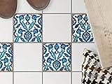 creatisto Küchen-Bodenfolie, Badezimmerfliesen | Fliesenfolie Sticker Aufkleber Bad Küche Balkon Küchen-Deko | 10x10 cm Muster Ornament Hamam-Vibes - 4 Stück