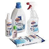Sagrotan Desinfektionsset – Hygienespray, Wäschespüler, Reinigungstücher, Desinfektionsreiniger – 4 x Desinfektionsprodukt + 1 x gratis Handgel im praktischen Vorteilspack