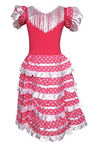 La Senorita Spanische Flamenco Kleid/Kostüm - für Mädchen/Kinder - Rosa/Weiß - Größe 128-134 - Länge 85 cm - für 7-8 ()