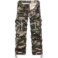 Panegy - Nuevo Pantalón Largo Cargo Algodón Multibolsillos Camo Pantalones con Cinturón Pants para Hombres Chicos - Camuflaje Verde Militar
