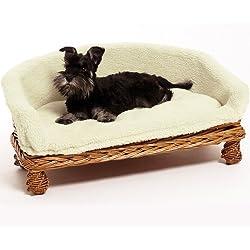 Canapé design panier en osier pour chien avec housse en tissu lavable en machine Doux/choix de 3tailles/Idéal pour les chiens ainsi que les chats/