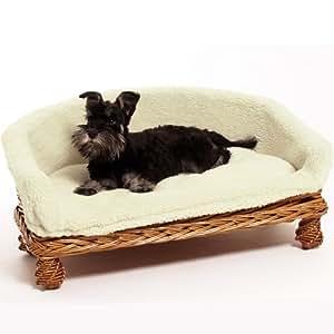Weidenkorbsofa Weidenkorb Sofa 68 cm Das Hundesaofa auf Rattan hat einen waschbaren Kuschel Bezug Ein Hundesofa nicht nur für Hunde auch Katzen benutzen es gerne