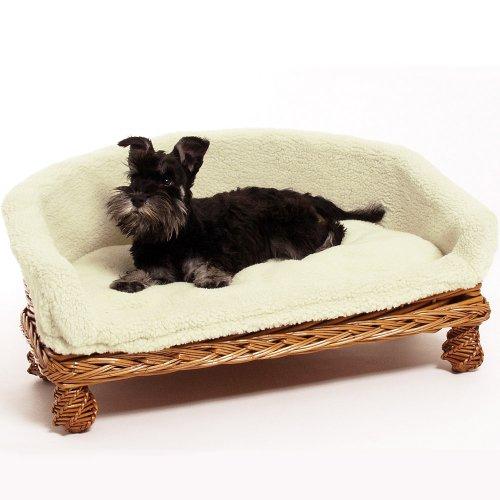 Weidenkorbsofa Weidenkorb Sofa 60 cm Das Hundesaofa auf Rattan hat einen waschbaren Kuschel Bezug Ein Hundesofa nicht nur für Hunde auch Katzen benutzen es gerne