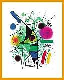 Joan Miro Der singende Fisch (100 x 70 cm) Poster Kunstdruck mit Holz Rahmen Hellbraun 105,2x75,2cm - Kostenloser Versand